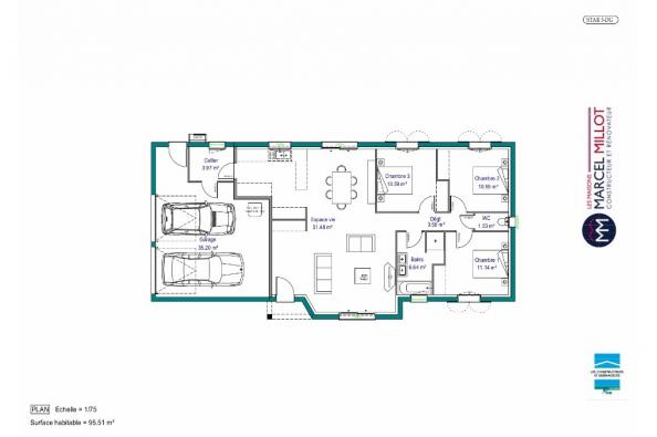 Plan de maison MAISON DE PLAIN PIED - 96 M 2 - CREUSE - STAR 5 DG 3 chambres  : Photo 1