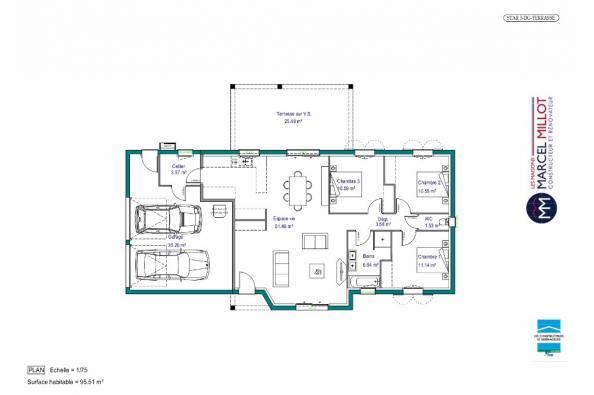 Plan de maison MAISON DE PLAIN PIED - 96 M 2 - CORRÈZE - LOT - DO 3 chambres  : Photo 1