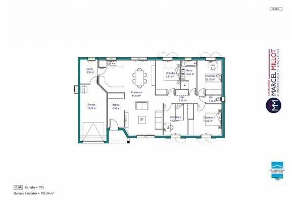 Plan de maison MAISON DE PLAIN PIED - 103 M 2 - CORRÈZE - LOT - D 4 chambres  : Photo 1