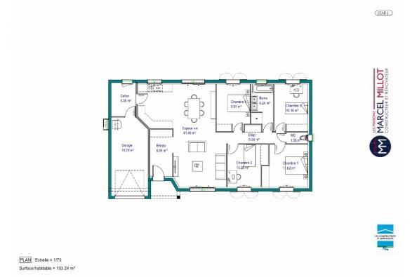 Modèle de maison MAISON DE PLAIN PIED - 103 M 2 - CREUSE - STAR 6 4 chambres  : Photo 4