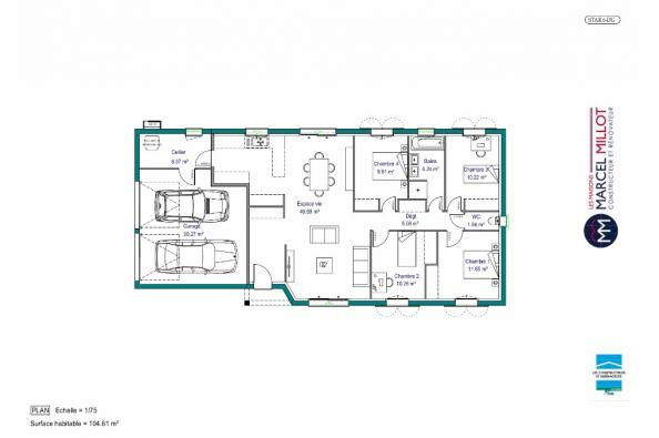 Plan de maison MAISON DE PLAIN PIED - 105 M 2 - CORRÈZE- LOT - DO 4 chambres  : Photo 1