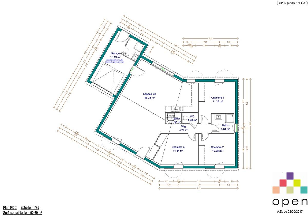 Plan de maison Jupiter - Maisons Open Limousin