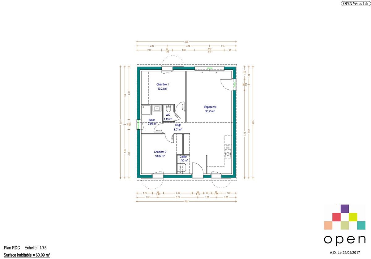 Plan de maison Vénus - Maisons Open Limousin