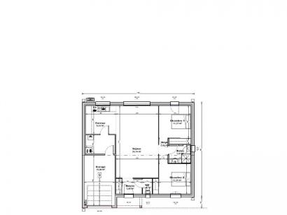 Plan de maison Maison 77 m2 - 2CH - Garage - 110669CAR 2 chambres  : Photo 1