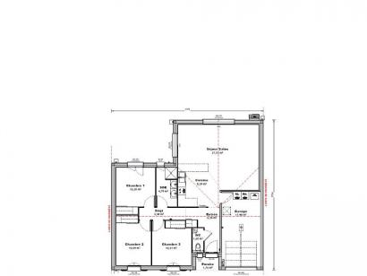 Plan de maison Maison 82 m2 - 3CH - Garage - 117176JOS 3 chambres  : Photo 1