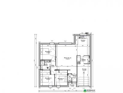 Plan de maison Maison 94 M2 - 3CH - Garage - P120682BRO 3 chambres  : Photo 1