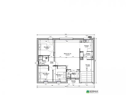 Plan de maison Maison 95 m2 - 3CH - Garage - P129485INV 3 chambres  : Photo 1