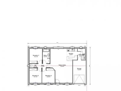 Plan de maison Maison 86 m2 - 3CH - Garage - 137471SCU 3 chambres  : Photo 1