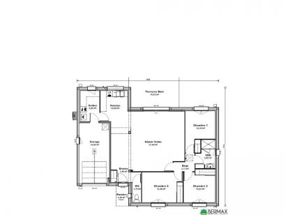 Plan de maison Maison 99 m2 - 3CH - Garage - 1404110BON 3 chambres  : Photo 1