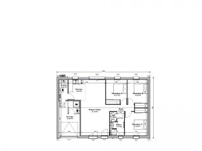 Plan de maison Maison 80 m2 - 3CH - Garage - 130564ECO 3 chambres  : Photo 1