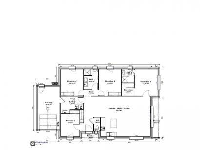 Plan de maison Maison 119 m2 - 3CH - Garage - 1758119BAU 3 chambres  : Photo 1