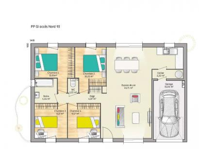 Plan de maison OPEN PP GI 93 TRADITION 4 chambres  : Photo 1