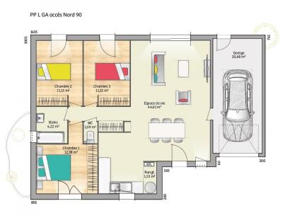 Plan de maison OPEN PP L GA 90 TRADITION 3 chambres  : Photo 1