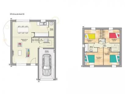 Plan de maison OPEN ETAGE GI 93 DESIGN 4 chambres  : Photo 1