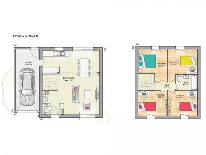 Plan de maison OPEN ETAGE GA 91 ELEGANCE 4 chambres  : Photo 1