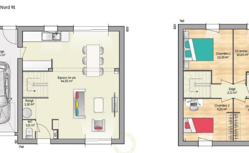 Plan OPEN ETAGE GA 91 DESIGN