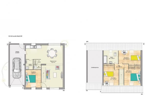 Plan de maison OPEN CA GA 89 TRADITION 4 chambres  : Photo 1