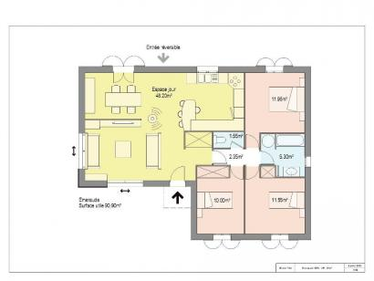 Plan de maison EMERAUDE 60% 3 chambres  : Photo 1