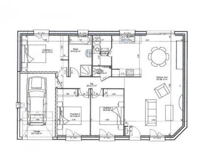 Plan de maison SM_PLP 3 chambres  : Photo 1