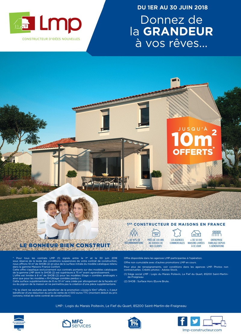 Jusqu'à 10m² offerts pour la construction de votre maison