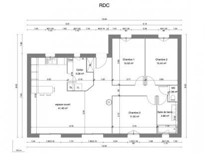 Maison neuve  à  Parçay-Meslay (37210)  - 208000 € * : photo 1