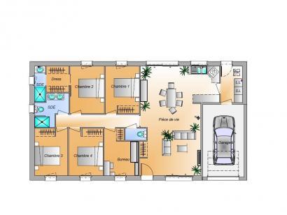 Plan de maison Avant projet Beauvoir Sur Mer - 4ch + 1 bureau 4 chambres  : Photo 1