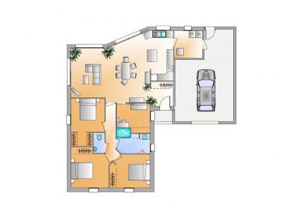 Plan de maison Avant projet La Chappelle Aux Lys - 3 chambres + 1 3 chambres  : Photo 1