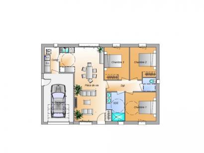 Plan de maison Avant projet Châteauneuf - 3 chambres 3 chambres  : Photo 1