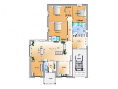 Plan de maison Avant projet Lairoux - 3 chambres 3 chambres  : Photo 1