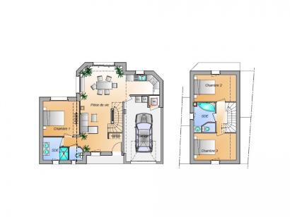 Plan de maison Avant projet Les Achards - 3 chambres 3 chambres  : Photo 1