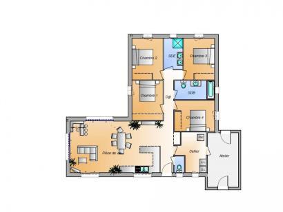 Plan de maison Avant projet La Faute Sur Mer - 4 chambres 4 chambres  : Photo 1