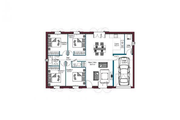 Modèle de maison Littoral T5 4 chambres  : Photo 5