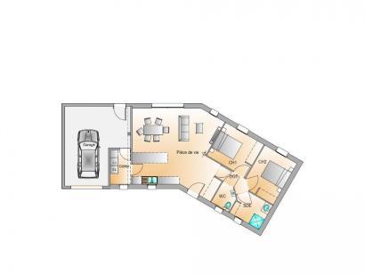 Plan de maison Avant projet Saint Sulpice Le Verdon - 73m² - 2 ch 2 chambres  : Photo 1