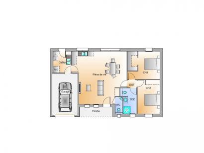 Plan de maison Avant projet Landevieille 80m² 2 chambres 2 chambres  : Photo 2