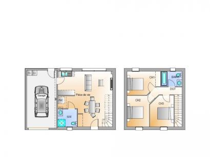 Plan de maison Avant projet Palluau - 79m² -3 chambres 3 chambres  : Photo 1
