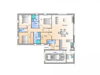 Plan de maison Avant projet La Jnchère - 3 chambres + 1 bureau - 4 chambres  : Photo 1
