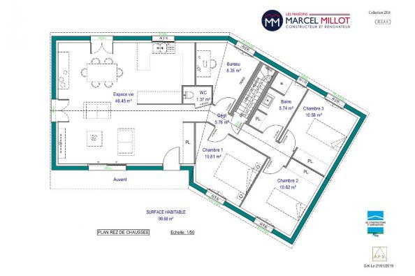 Modèle de maison ELLA 6 - 22° - dpts 87/46/24 - maison sur sous-sol 3 chambres  : Photo 3