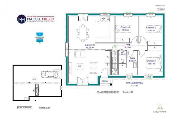 Modèle de maison STERRIA - 35° - dpts 19/23 - maison sur sous-sol 3 chambres  : Photo 3