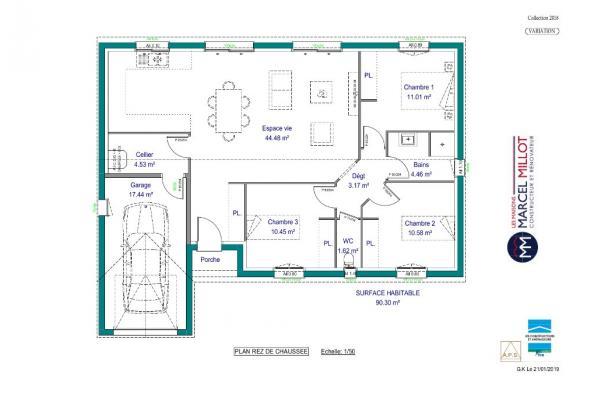 Modèle de maison VARIATION - 22° - dpts 87/46/24 - maison de plain 3 chambres  : Photo 3