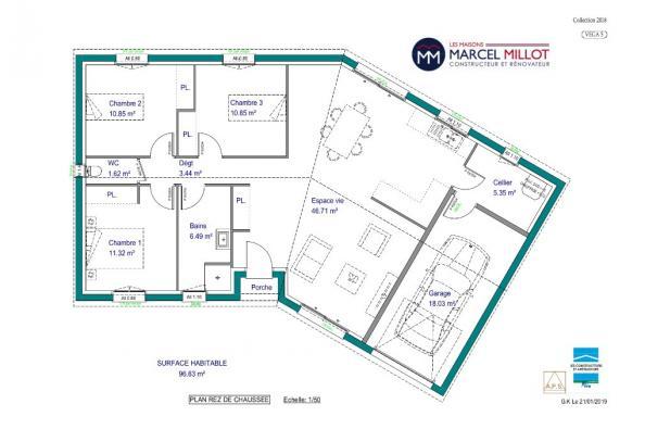 Modèle de maison VEGA 5 - 22° - dpts 87/46/24 - maison de plain pie 3 chambres  : Photo 3