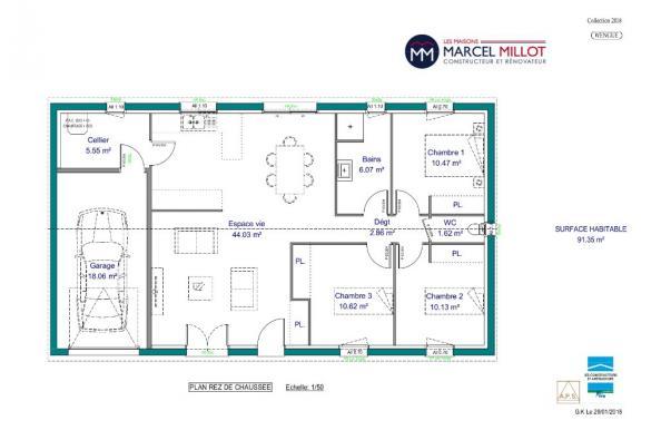 Modèle de maison WENGUE - 35° - dpts 19/23 - maison de plain pied - 3 chambres  : Photo 3