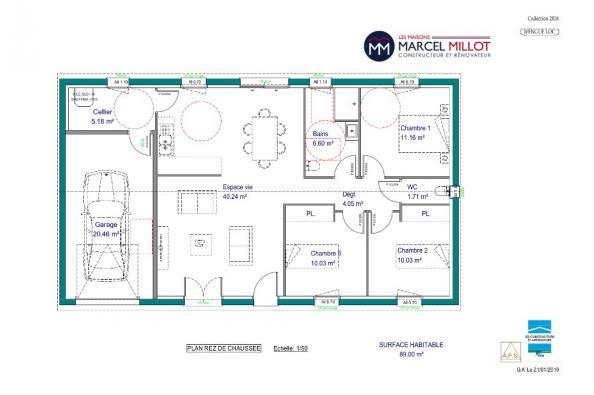 Modèle de maison WENGUE LOCATIF - 35° - dpts 19/23 - maison de plai 3 chambres  : Photo 2