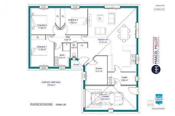 Modèle de maison LANDA 6 AG - 35° - dpts 19/23 - maison de plain pi 3 chambres  : Photo 3