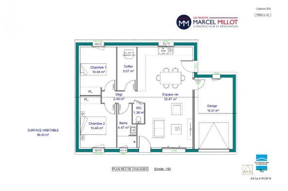 Modèle de maison PRIMA 4 AG - 22° - dpts 87/46/24 - maison de plain 2 chambres  : Photo 3
