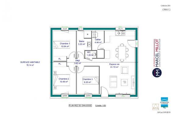 Modèle de maison PRIMA 5 SG - 22° - 87/46/24 - maison de plain pied 3 chambres  : Photo 3