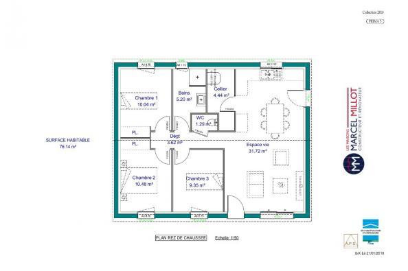 Modèle de maison PRIMA 5 SG - 35° - dpts 19/23 - maison de plain pi 3 chambres  : Photo 3