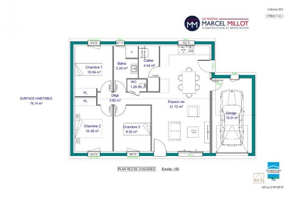 Modèle de maison PRIMA 5 AG - 22° - dpts 87/46/24 - maison de plain 3 chambres  : Photo 3