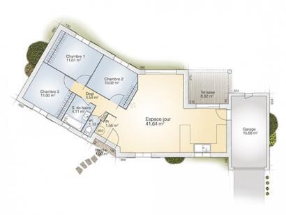 Plan de maison Emeraude 85 Elegance 3 chambres  : Photo 1