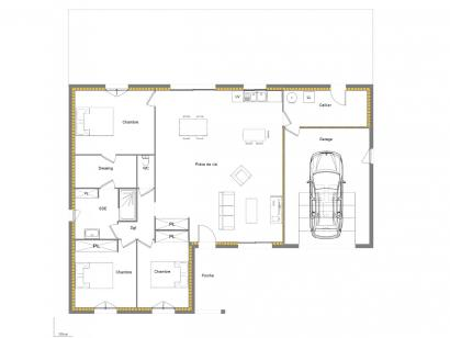 Plan de maison L 115 + garage 3 chambres  : Photo 1