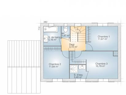 Plan de maison Saphir 110 Tradition 3 chambres  : Photo 2
